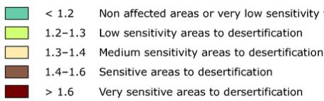 Sensivity to Desertification Index (SDI) map legend